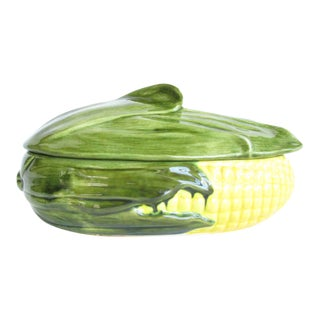 1970s Handmade Corn Shaped Ceramic Covered Serving Dish For Sale