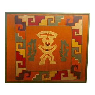 Large Framed Aztec-style Textile