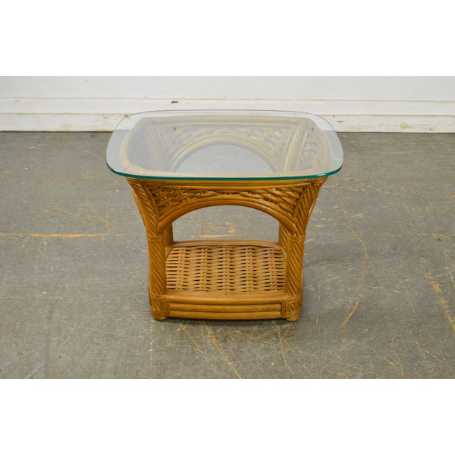 Crate & Barrel Glass Top Rattan Side Table For Sale - Image 9 of 13