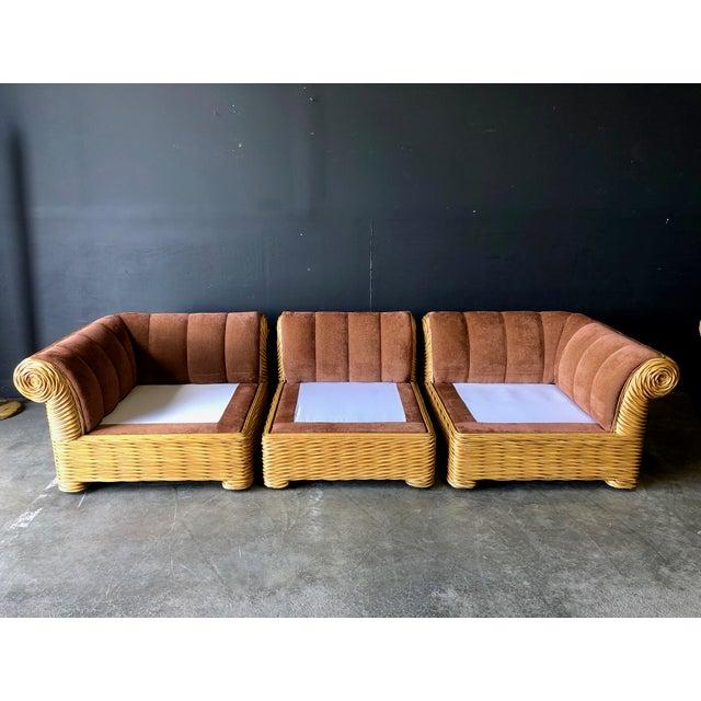 Rattan 4 Piece Modular Sofa For Sale - Image 10 of 13