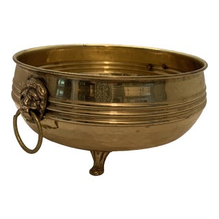 Vintage Brass Footed Bowl With Lion's Head Handles For Sale