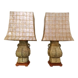 James Mont Style Capiz Shell Shade Lamps - A Pair