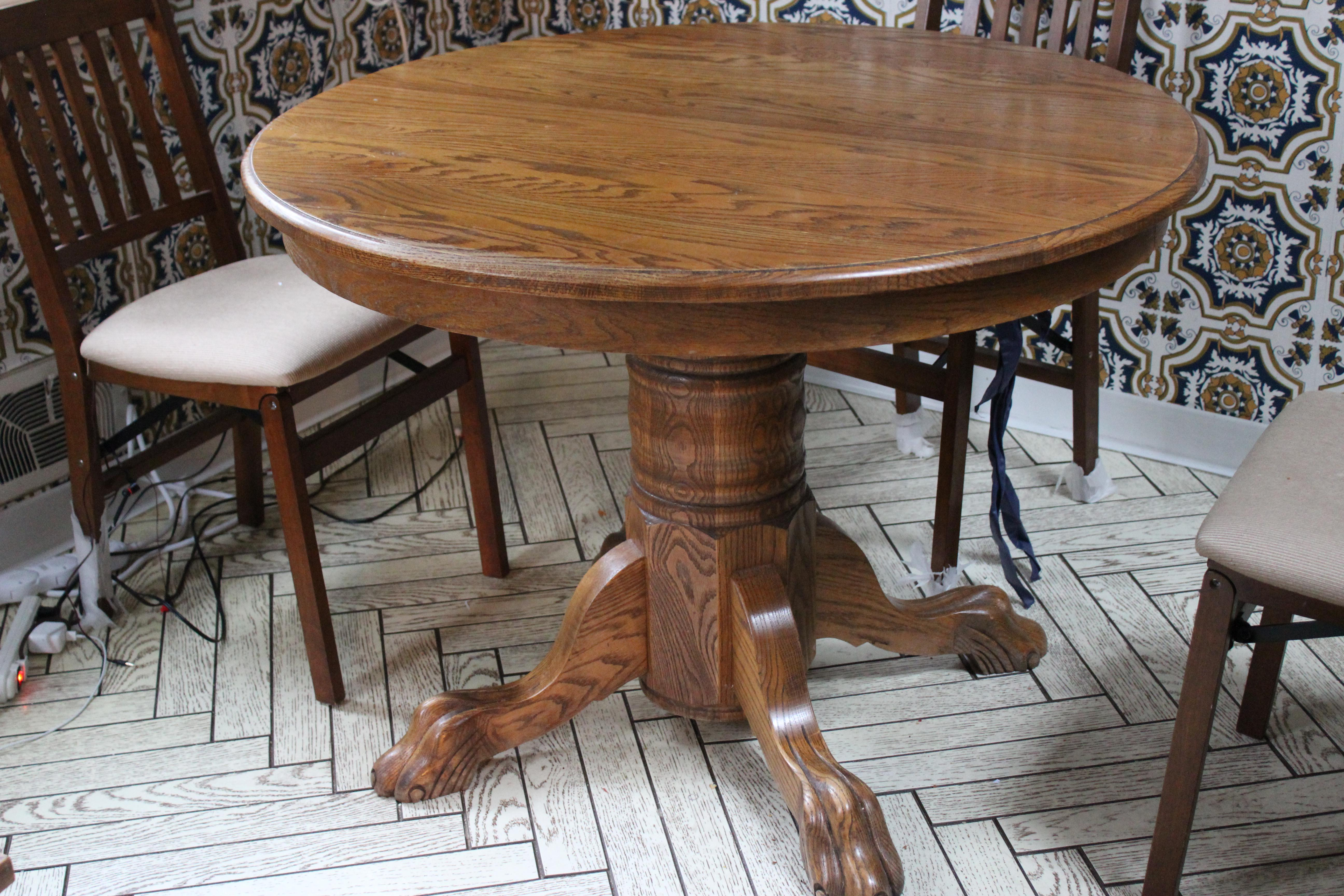 vintage oak claw foot dining table with two leaves | chairish 5 Foot Dining Table