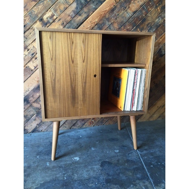 Brown Mid-Century-Style Teak Record Cabinet For Sale - Image 8 of 8