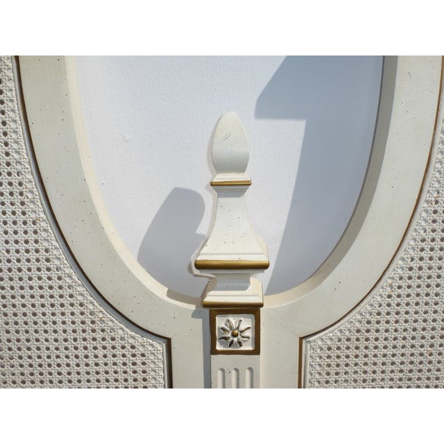 French Provincial White & Gold Cane Headboard - Image 9 of 11