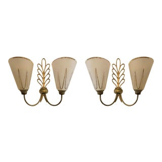Pair of Ezan & Petitot Sconces, Mid Century Modern France, 1950s For Sale