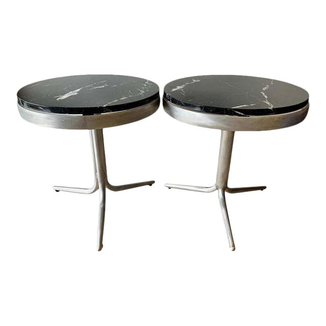 Aluminum and Marble Side Tables - a Pair For Sale