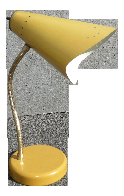 Mid Century Modern Yellow Adjustable Table Lamp
