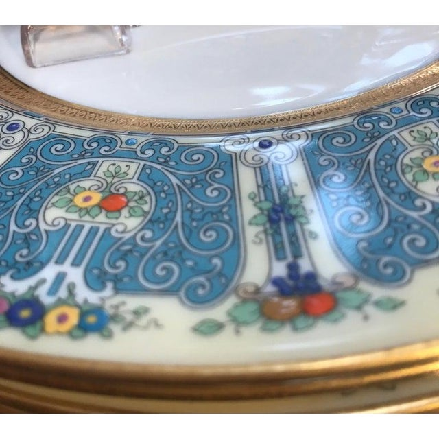 Hand Enameled Blue and Gold Dinner Service Plates - Set of Eleven For Sale - Image 11 of 12