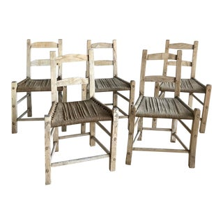 Antique Handmade Primitive Southwest White Oak Rope Seat Dining Chairs Rustic Navajo Cabin Style - Set of 5 For Sale
