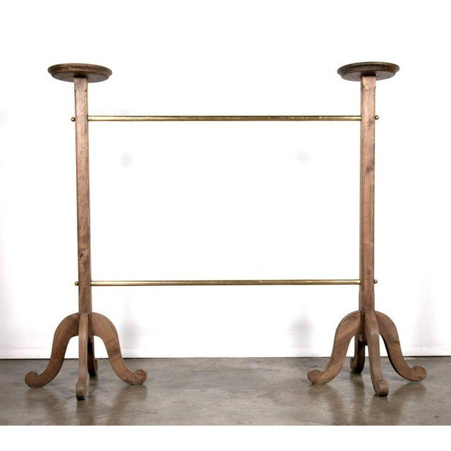 French 1930s Vintage Parisian Galeries Lafayette Brass and Bleached Oak Garment Rack For Sale - Image 3 of 9
