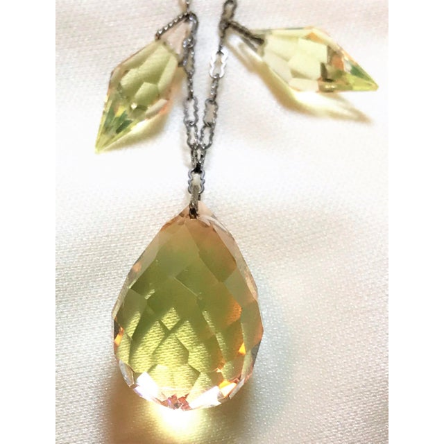 Circa 1920s Czechoslovakian Yellow Faceted Drop Necklace For Sale In Los Angeles - Image 6 of 8