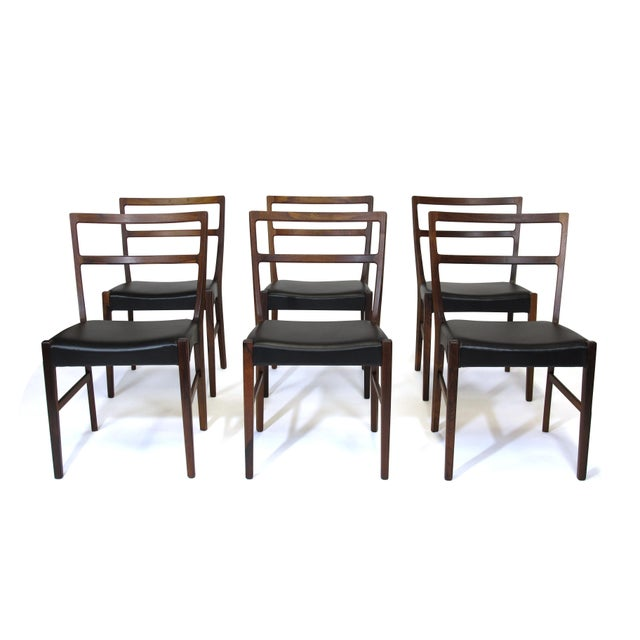 Black Johannes Andersen for Bernhard Pedersen & Sons Rosewood Dining Chairs - Set of 8 For Sale - Image 8 of 8