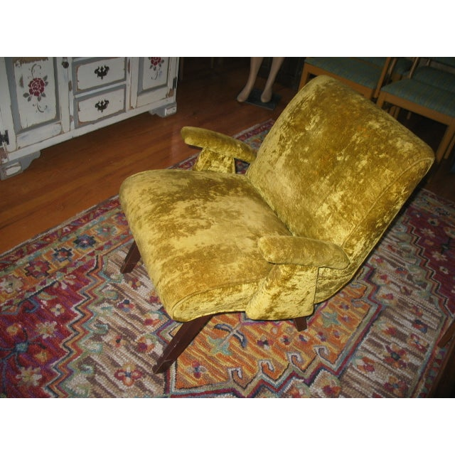 MCM 60s Chartruese Velour Chair - Image 3 of 8