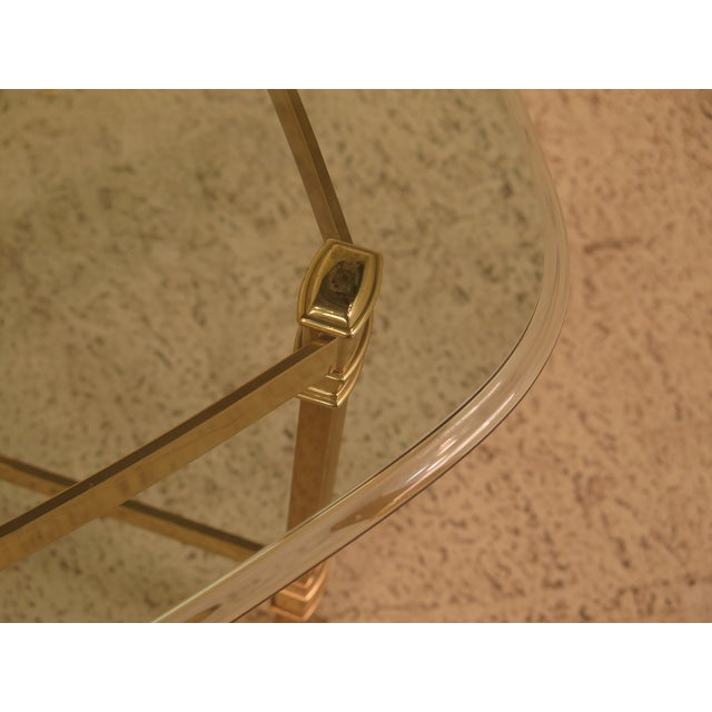 Gold Labarge Glass Top Brass Base Coffee Table For Sale - Image 8 of 10
