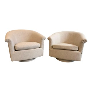Pair Milo Baughman Style Swivel Lounge Chairs For Sale