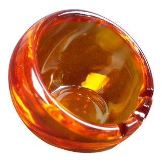 Viking Glass Handmade Persimmon Orb Ashtray For Sale