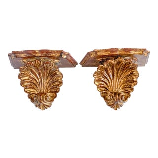 Vintage Florentine Style Gilt Carved Wood Wall Shelf Sconce - a Pair For Sale