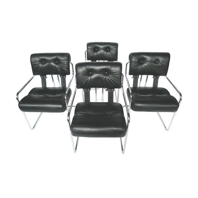 Tucroma Black Leather & Chrome Dining Chairs - Set of 4 - Image 2 of 10