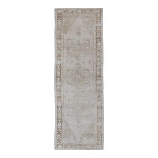Taupe Vintage Turkish Oushak Runner With Geometric Floral Design For Sale