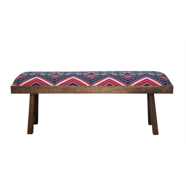 Mid-Century Modern Classic Fabric Bench For Sale - Image 3 of 3