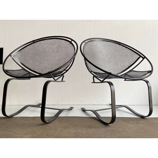 Mid-Century Modern 1950s Vintage Salterini Radar Bouncer Wrought Iron Chairs - a Pair For Sale - Image 3 of 9