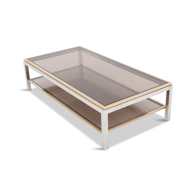Willy Rizzo Willy Rizzo Rectangular Coffee Table in Brass, Chrome and Glass For Sale - Image 4 of 8