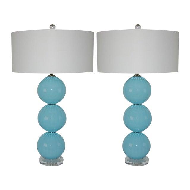 Joe Cariati Glass Ball Table Lamps Blue For Sale