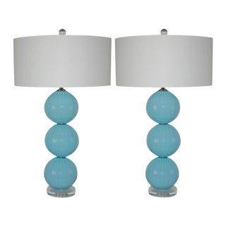 Joe Cariati Hand Blown Glass Ball Table Lamps Blue For Sale