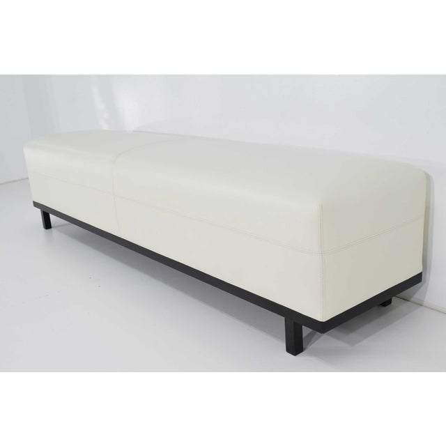 Wood Pair of Christian Liaigre Nankin Benches in White Leather For Sale - Image 7 of 10