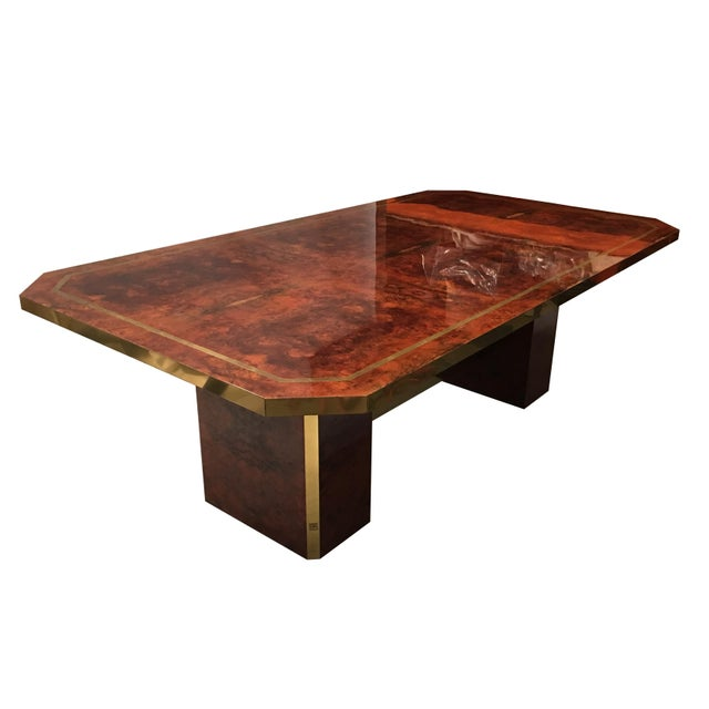 Mid-Century Modern Cedar Burl and Brass Dining Table by Jean Claude Mahey For Sale - Image 3 of 7