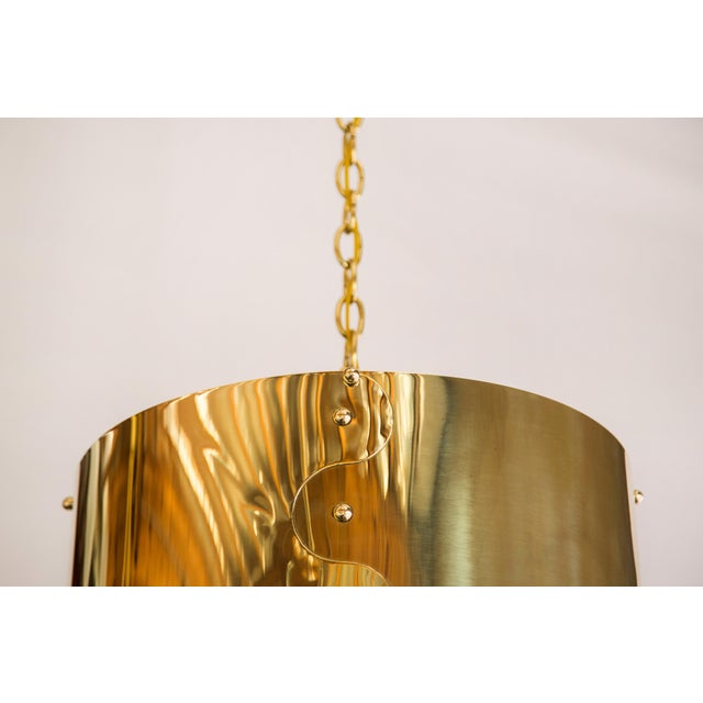 1960s Mid-Century Pair of Brass Drum Shaded Pendants For Sale - Image 5 of 6