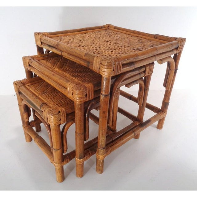 Mid Century Organic Modern Bamboo Side Nesting Tables For Sale - Image 11 of 11