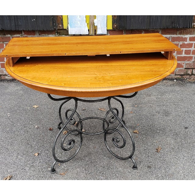 Metal Ethan Allen Legacy Collection Maple Table W/ Wrought Iron Base & 4 Side Chairs C1990s For Sale - Image 7 of 13