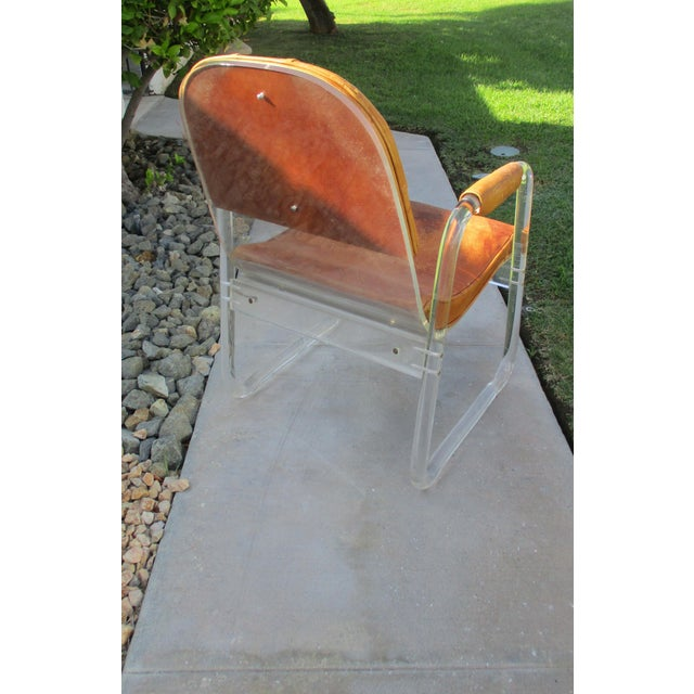 Hill Manuf Lucite and Leather Club Chair - Custom Piece For Sale - Image 11 of 13
