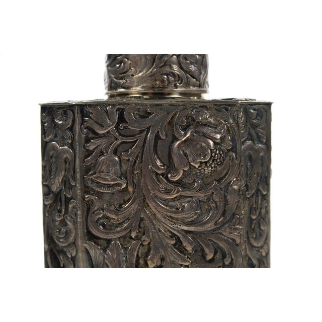 Metal 19th Century Antique Silver Repousse Tea Caddy For Sale - Image 7 of 9