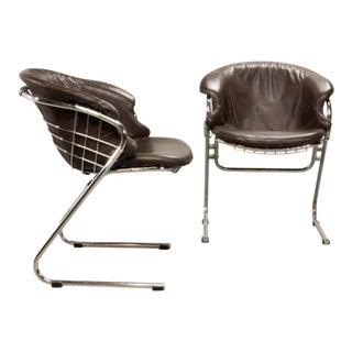 Pair of Mid-Century Italian Design Dining Side Chairs 'Flynn' by Gastone Rinaldi for Rima, 1970's