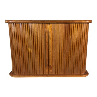 1960s Teak Tambour Door Wall Storage Unit