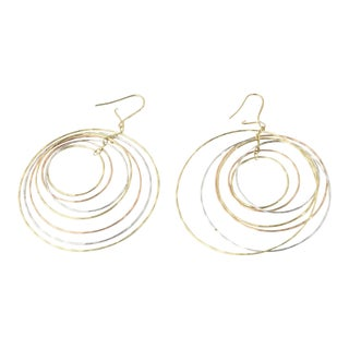 Contemporary Dangling Tri-Color Gold Circle Kinetic Earrings - a Pair For Sale