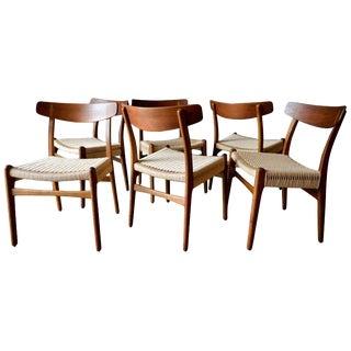 1960s Vintage Hans Wegner Ch23 Oak Dining Chairs- Set of 6 For Sale