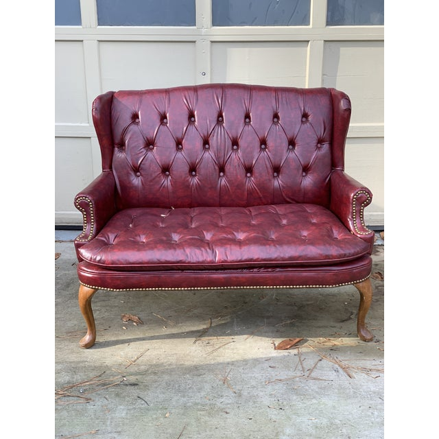 Animal Skin 1970s Vintage Burgundy Leather Settee For Sale - Image 7 of 7