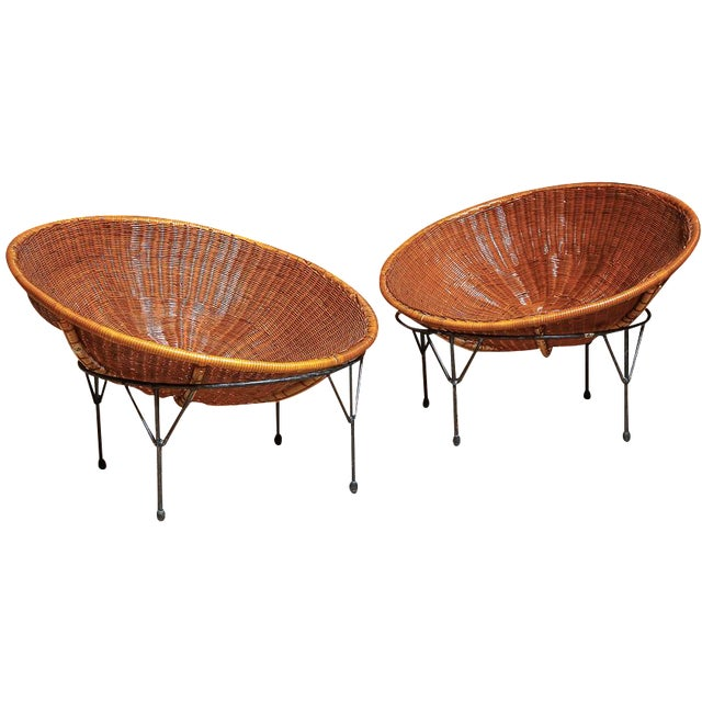 Rattan Hoop Lounge Chairs - A Pair - Image 1 of 5