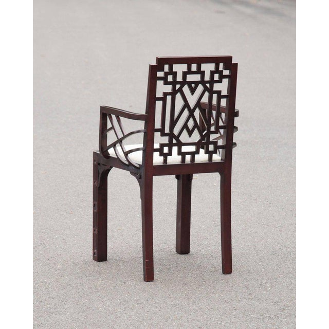 Gorgeous Chinese Chippendale Style Fretwork Dining Chairs - Set of 6 - Image 5 of 10