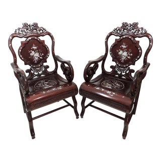 Vintage Solid Rosewood & Mother of Pearl Chinese Armchairs or Side Chairs With Foo Lions - a Pair For Sale