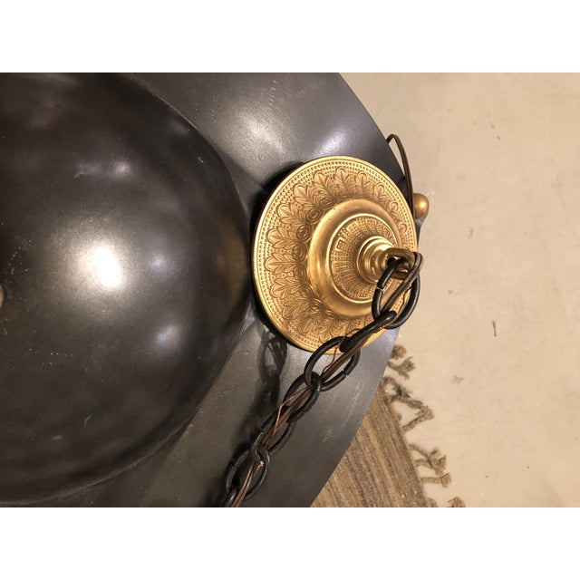 Painted Iron / Gilt Bronze Hanging Lantern For Sale - Image 4 of 5
