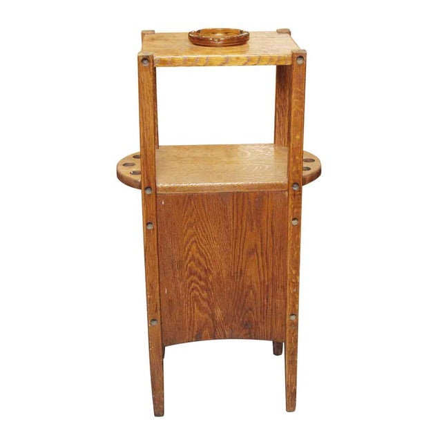 Oak 20th Century Arts and Crafts Humidor Oak Pipe & Ashtray Stand For Sale - Image 7 of 8