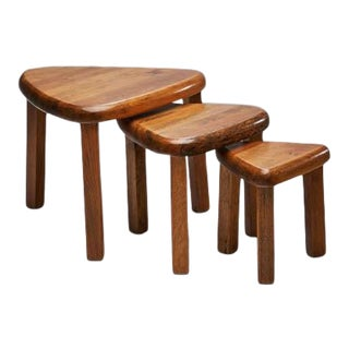 1960s Pierre Chapo Style Nesting Tables - Set of 3 For Sale