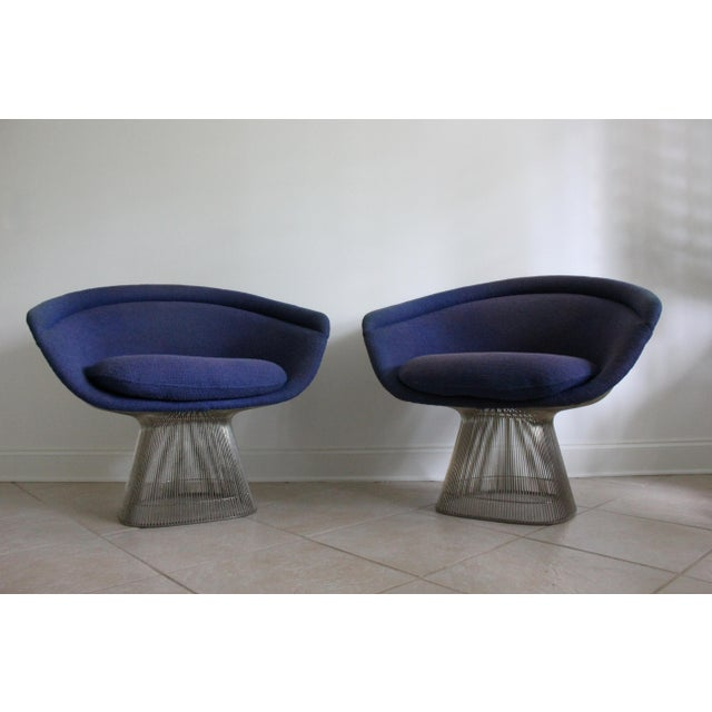 Warren Platner for Knoll Blue Upholstered Platner Lounge Chairs- a Pair For Sale - Image 10 of 10