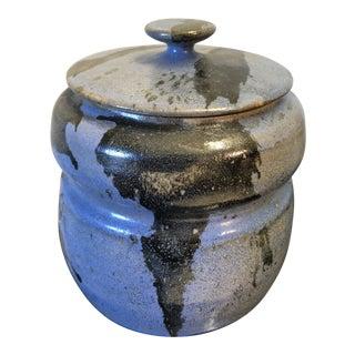 1980s Blue Splatter Glazed Stoneware Art Pottery Jar For Sale