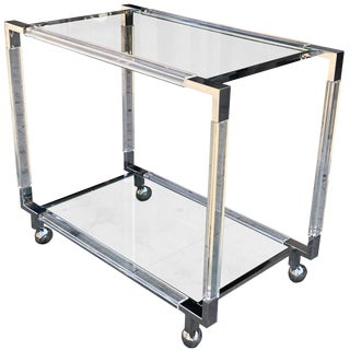 Vintage Chrome and Lucite Bar Cart by Charles Hollis Jones, Metric Collection For Sale